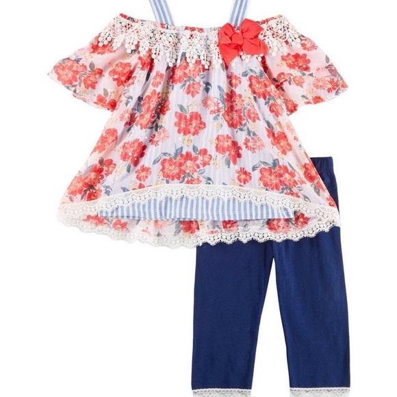 Floral Crochet Trim Cold Shoulder Top & Leggings
